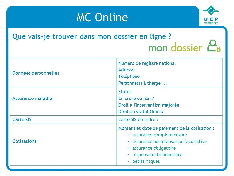 MC Online Que vais-je trouver dans mon dossier en ligne .