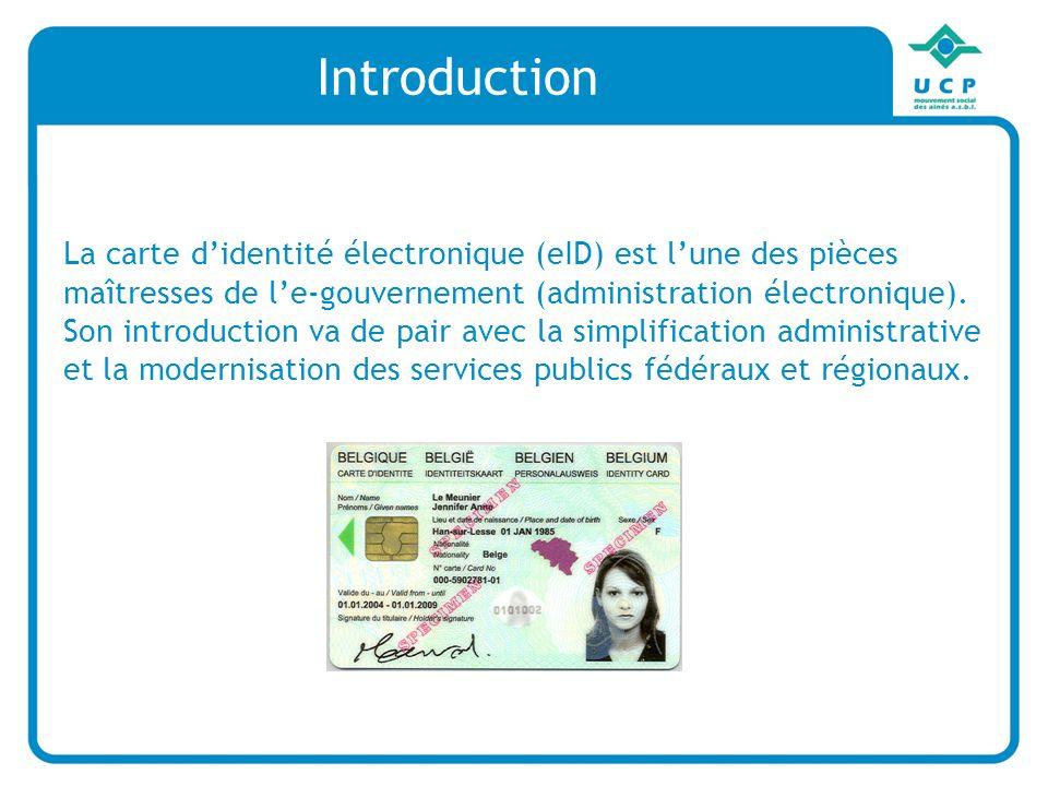Introduction La carte didentité électronique (eID) est lune des pièces maîtresses de le-gouvernement (administration électronique).