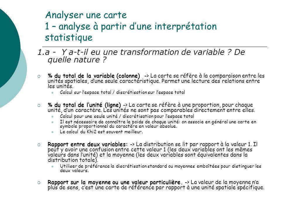 Analyser une carte 1 – analyse à partir dune interprétation statistique 1.a - Y a-t-il eu une transformation de variable ? De quelle nature ? % du tot