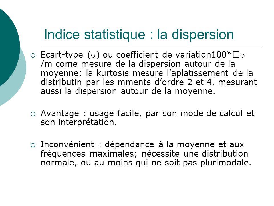 Indice statistique : la dispersion Ecart-type () ou coefficient de variation100* /m come mesure de la dispersion autour de la moyenne; la kurtosis mes