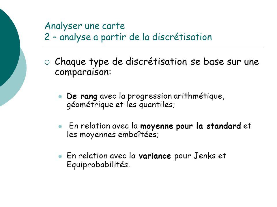 Analyser une carte 2 – analyse a partir de la discrétisation Chaque type de discrétisation se base sur une comparaison: De rang avec la progression ar