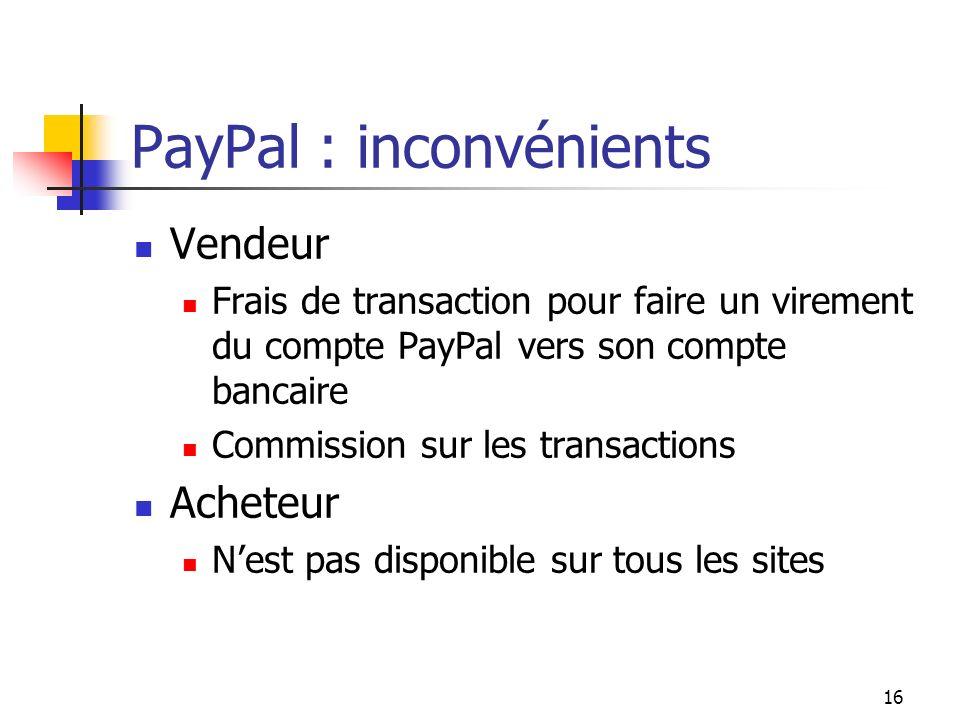 PayPal : inconvénients Vendeur Frais de transaction pour faire un virement du compte PayPal vers son compte bancaire Commission sur les transactions A
