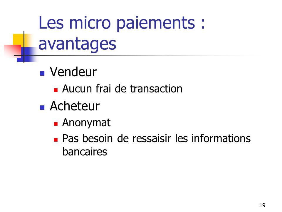 Les micro paiements : avantages Vendeur Aucun frai de transaction Acheteur Anonymat Pas besoin de ressaisir les informations bancaires 19