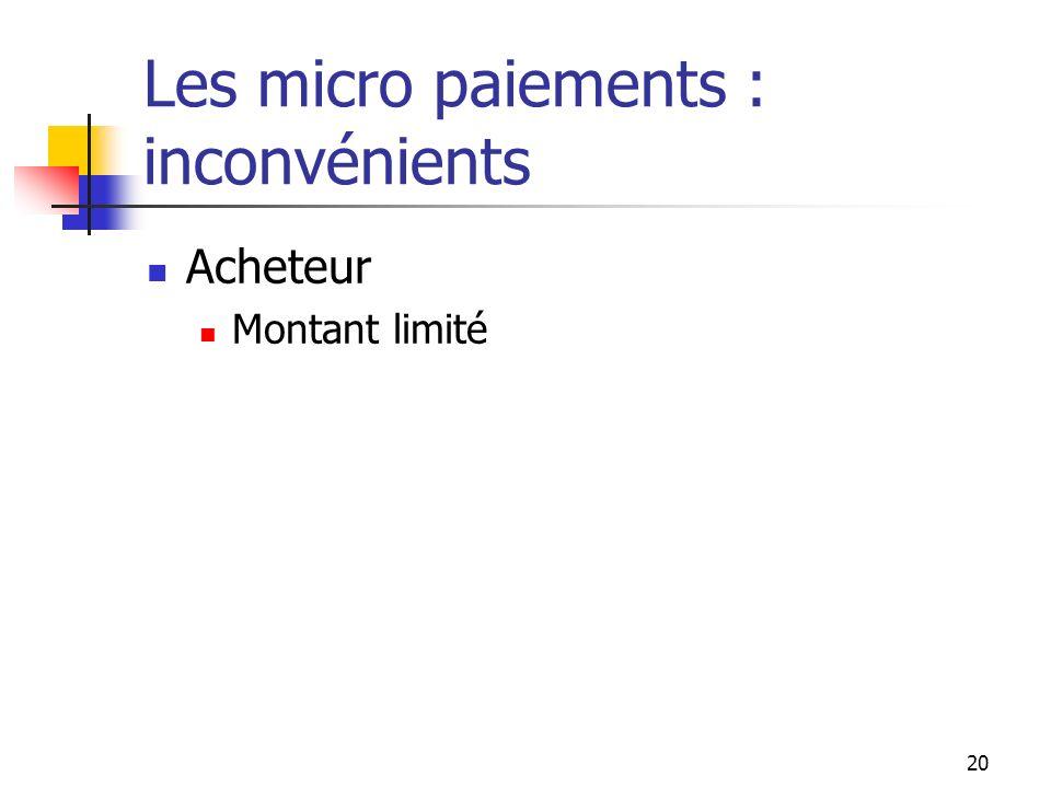 Les micro paiements : inconvénients Acheteur Montant limité 20