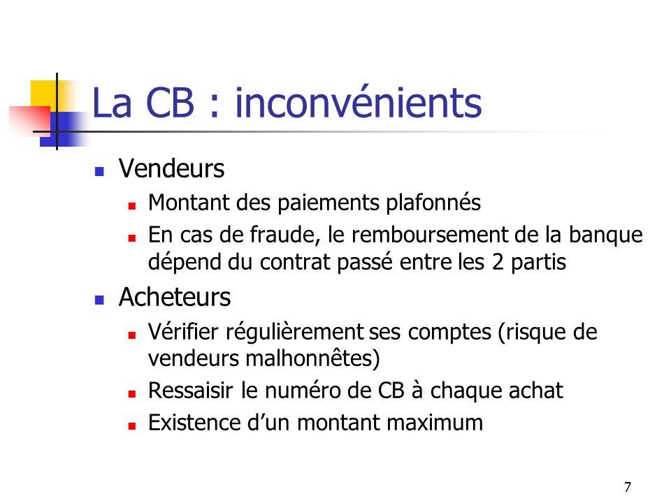 La CB : inconvénients Vendeurs Montant des paiements plafonnés En cas de fraude, le remboursement de la banque dépend du contrat passé entre les 2 par