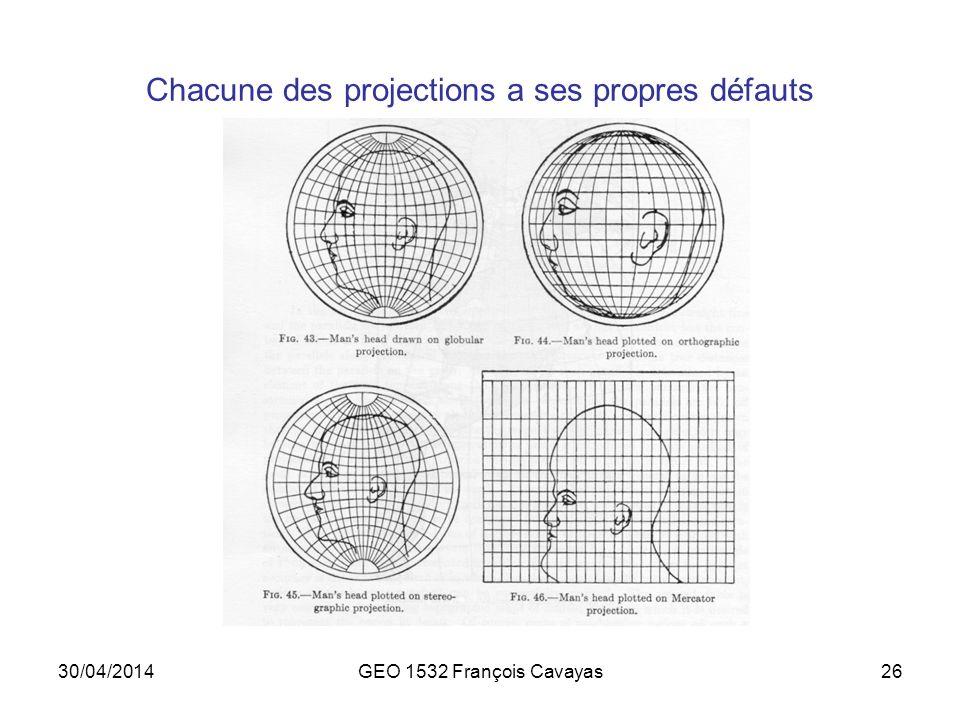 30/04/2014GEO 1532 François Cavayas26 Chacune des projections a ses propres défauts