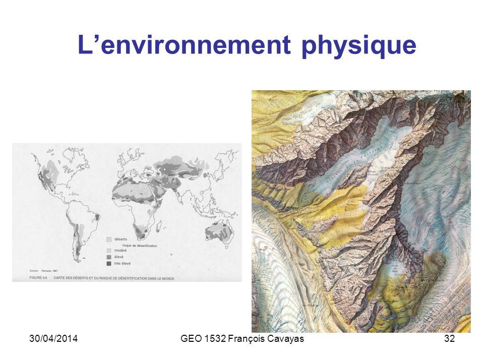 30/04/2014GEO 1532 François Cavayas32 Lenvironnement physique