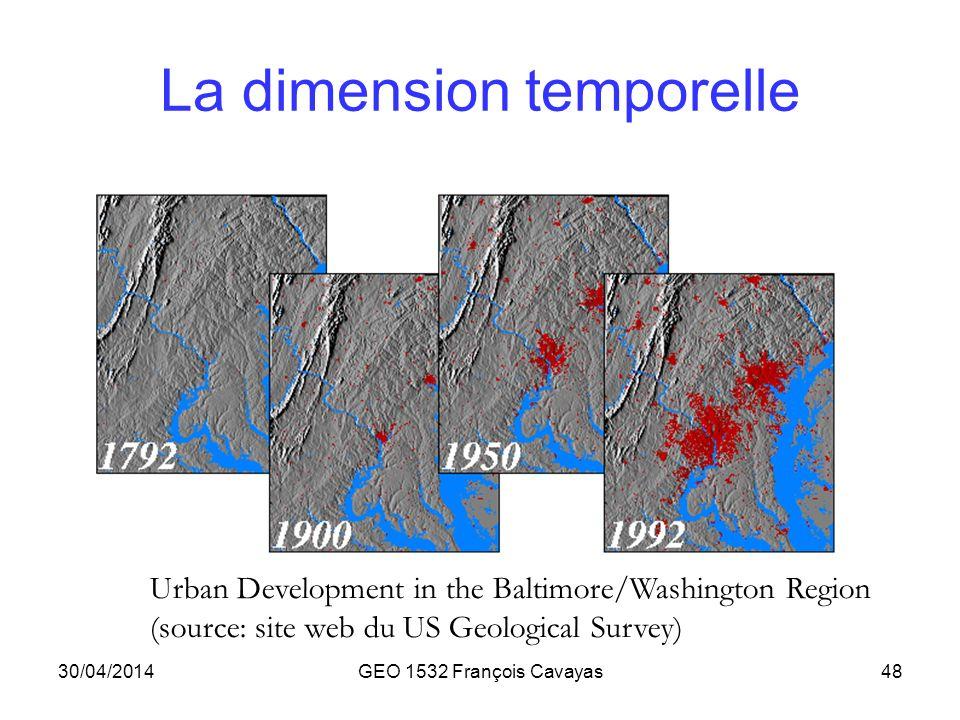 30/04/2014GEO 1532 François Cavayas48 La dimension temporelle Urban Development in the Baltimore/Washington Region (source: site web du US Geological