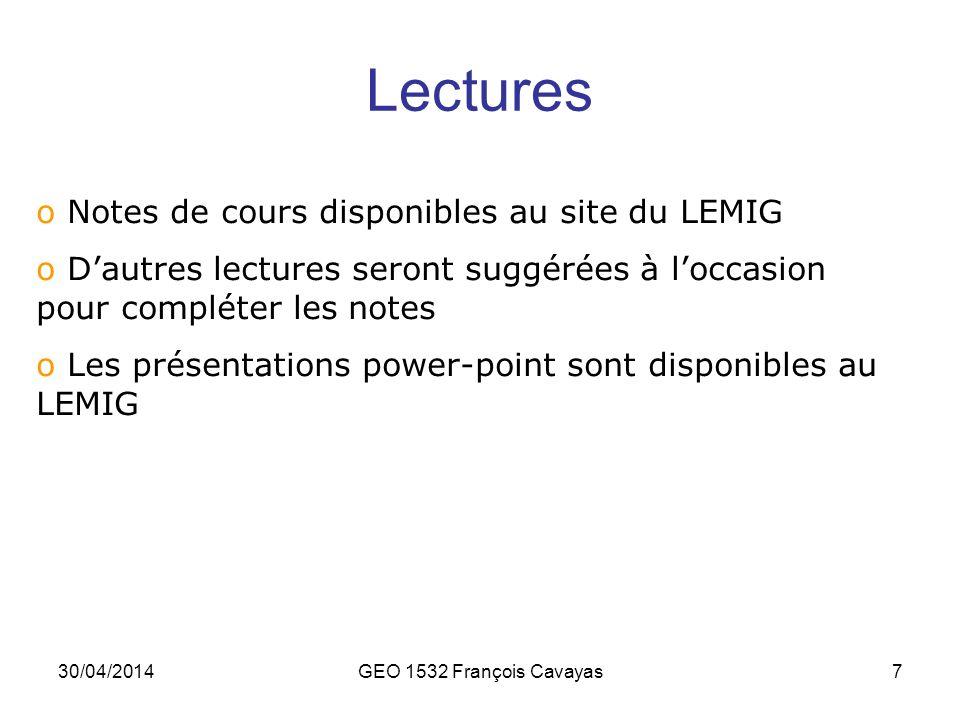 30/04/2014GEO 1532 François Cavayas7 Lectures o Notes de cours disponibles au site du LEMIG o Dautres lectures seront suggérées à loccasion pour compl