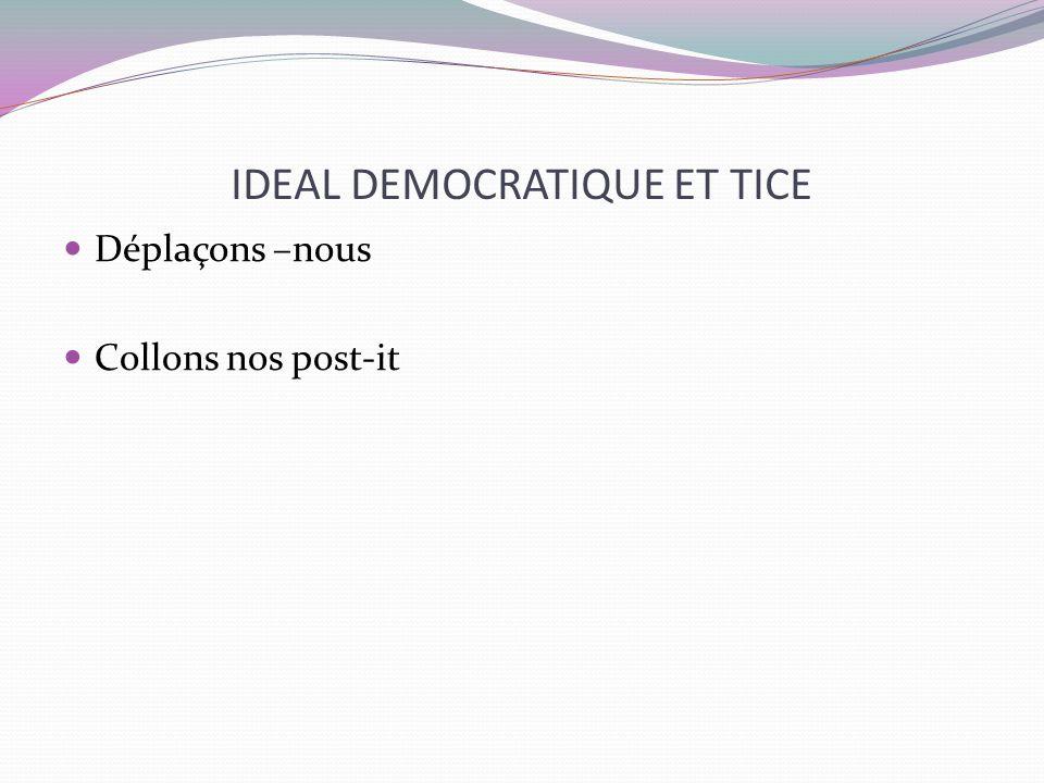 Ideal démocratique et TICE Et si on les regroupait, les classait … Identifions par des rubriques : attentes / craintes