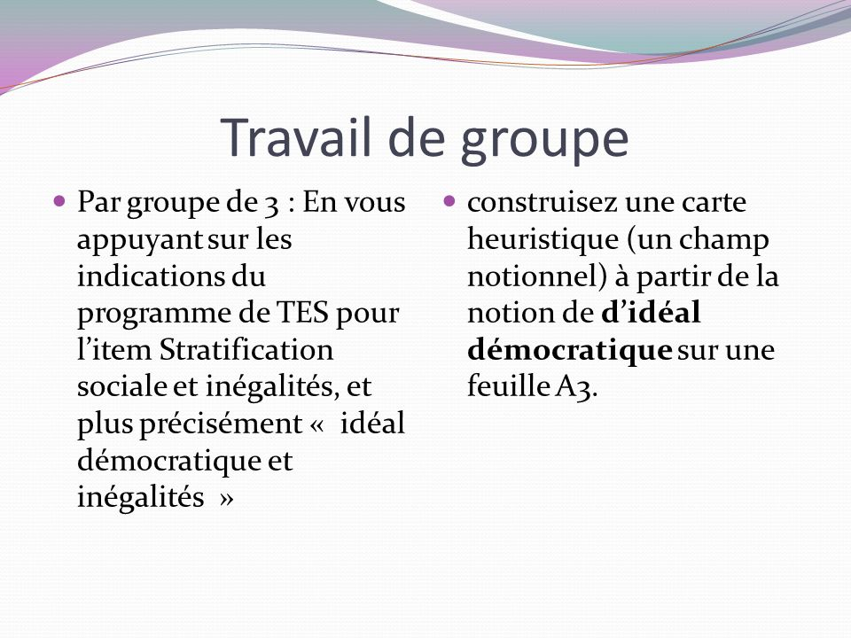 Travail de groupe Par groupe de 3 : En vous appuyant sur les indications du programme de TES pour litem Stratification sociale et inégalités, et plus