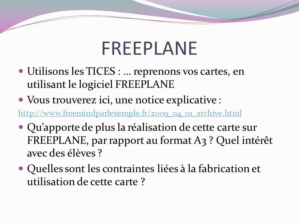 FREEPLANE Utilisons les TICES : … reprenons vos cartes, en utilisant le logiciel FREEPLANE Vous trouverez ici, une notice explicative : http://www.fre