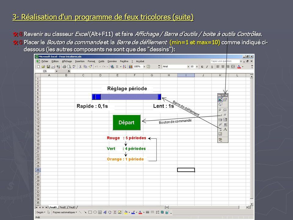3- Réalisation d un programme de feux tricolores (suite) Revenir au classeur Excel (Alt+F11) et faire Affichage / Barre d outils / boite à outils Contrôles.