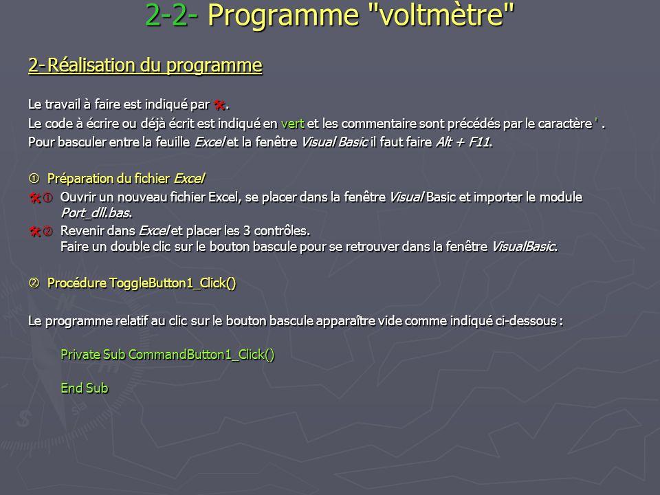 2-Réalisation du programme Le travail à faire est indiqué par.