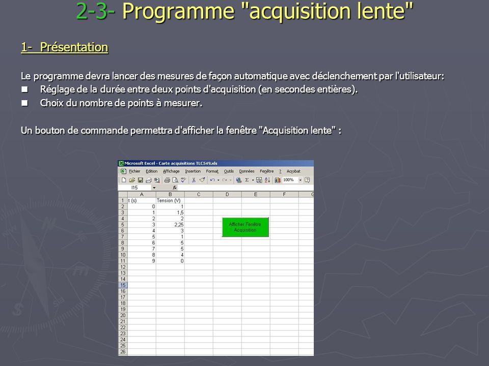 2-3- Programme acquisition lente 1-Présentation Le programme devra lancer des mesures de façon automatique avec déclenchement par l utilisateur: Réglage de la durée entre deux points d acquisition (en secondes entières).