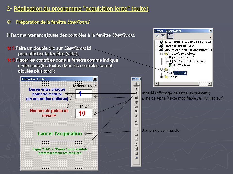 2- Réalisation du programme acquisition lente (suite) Préparation de la fenêtre UserForm1 Préparation de la fenêtre UserForm1 Il faut maintenant ajouter des contrôles à la fenêtre UserForm1.
