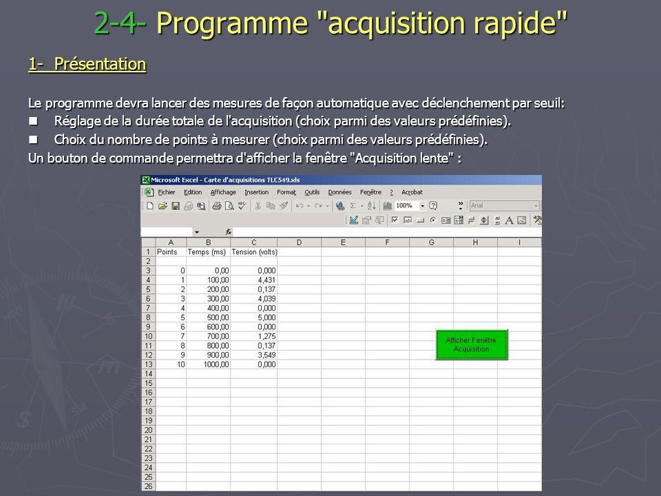2-4- Programme acquisition rapide 1-Présentation Le programme devra lancer des mesures de façon automatique avec déclenchement par seuil: Réglage de la durée totale de l acquisition (choix parmi des valeurs prédéfinies).