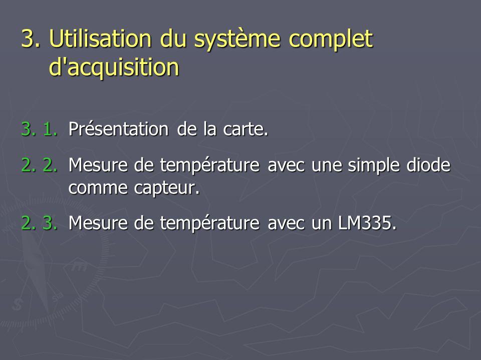 3.1.Présentation de la carte. 2. 2. Mesure de température avec une simple diode comme capteur.