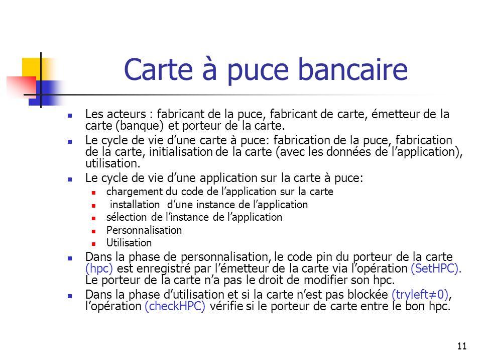 11 Carte à puce bancaire Les acteurs : fabricant de la puce, fabricant de carte, émetteur de la carte (banque) et porteur de la carte. Le cycle de vie