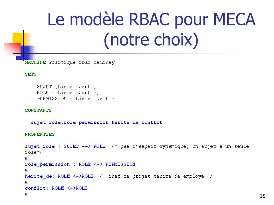 18 Le modèle RBAC pour MECA (notre choix)