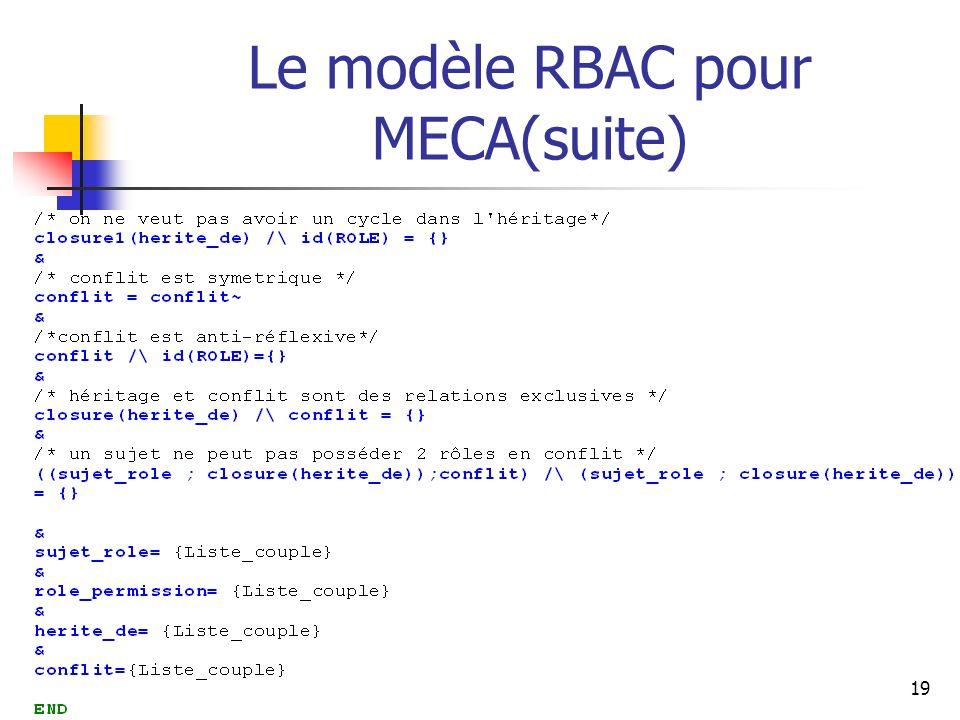 19 Le modèle RBAC pour MECA(suite)