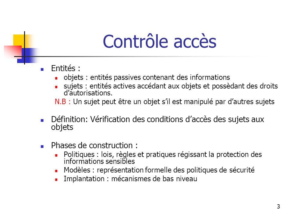 3 Contrôle accès Entités : objets : entités passives contenant des informations sujets : entités actives accédant aux objets et possèdant des droits d