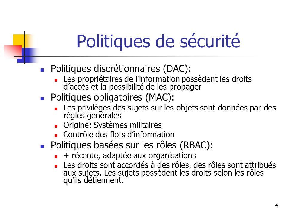 4 Politiques de sécurité Politiques discrétionnaires (DAC): Les propriétaires de linformation possèdent les droits daccès et la possibilité de les pro