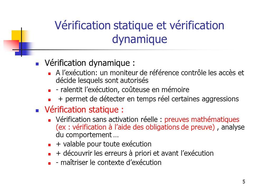 5 Vérification statique et vérification dynamique Vérification dynamique : A lexécution: un moniteur de référence contrôle les accès et décide lesquel