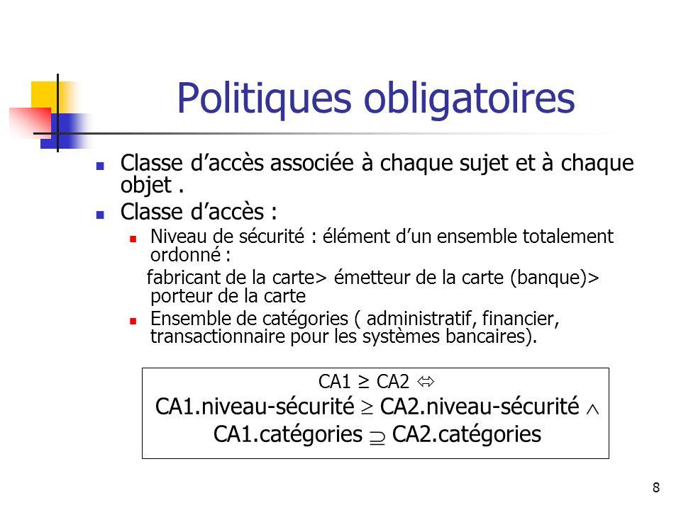 8 Classe daccès associée à chaque sujet et à chaque objet. Classe daccès : Niveau de sécurité : élément dun ensemble totalement ordonné : fabricant de