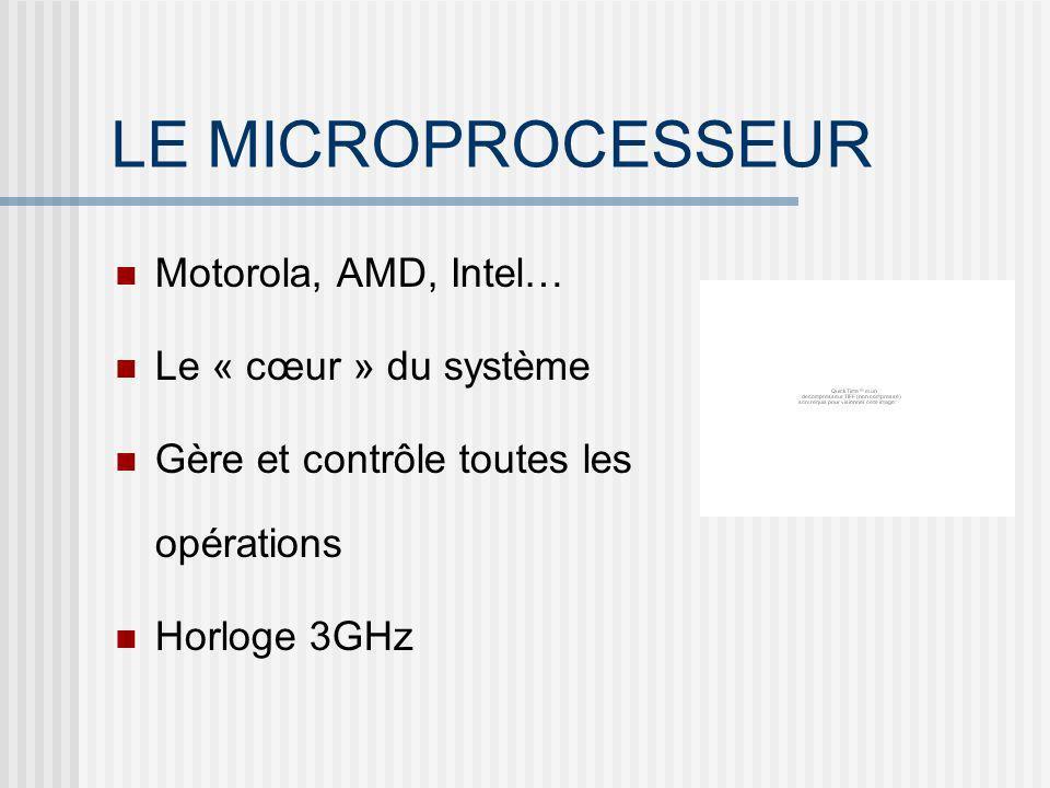 LE MICROPROCESSEUR Motorola, AMD, Intel… Le « cœur » du système Gère et contrôle toutes les opérations Horloge 3GHz