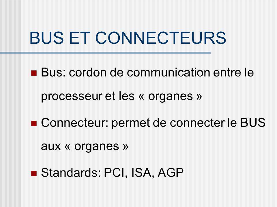 BUS ET CONNECTEURS Bus: cordon de communication entre le processeur et les « organes » Connecteur: permet de connecter le BUS aux « organes » Standard