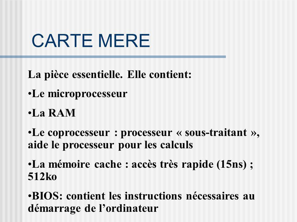 CARTE MERE La pièce essentielle. Elle contient: Le microprocesseur La RAM Le coprocesseur : processeur « sous-traitant », aide le processeur pour les