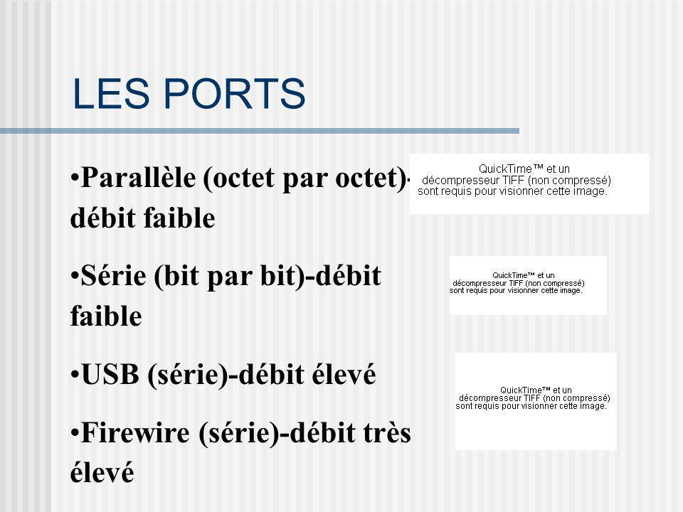 LES PORTS Parallèle (octet par octet)- débit faible Série (bit par bit)-débit faible USB (série)-débit élevé Firewire (série)-débit très élevé