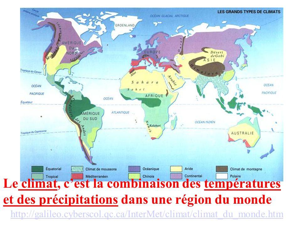 Le climat, cest la combinaison des températures et des précipitations dans une région du monde http://galileo.cyberscol.qc.ca/InterMet/climat/climat_d