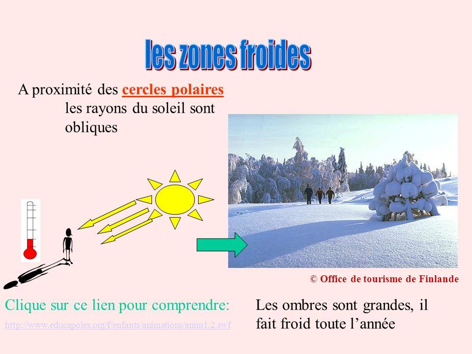A proximité des cercles polaires les rayons du soleil sont obliques Les ombres sont grandes, il fait froid toute lannée © Office de tourisme de Finlan