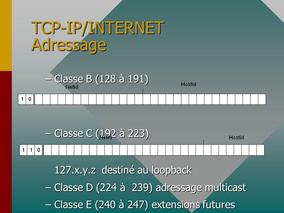 TCP-IP/INTERNET Adressage Adresse est codée sur 4 octets ou 32 bits.Adresse est codée sur 4 octets ou 32 bits. –ex : 121.32.58.12 Adresse = (netid,hos