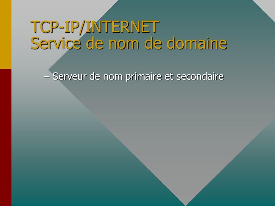TCP-IP/INTERNET Service de nom de domaine structure hiérarchique pour faciliter d'administration (un domaine peut être subdivisé en sous-domaines qui
