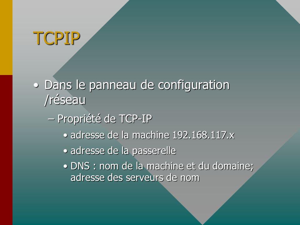 TCP-IP/INTERNET Service de nom de domaine –Serveur de nom primaire et secondaire