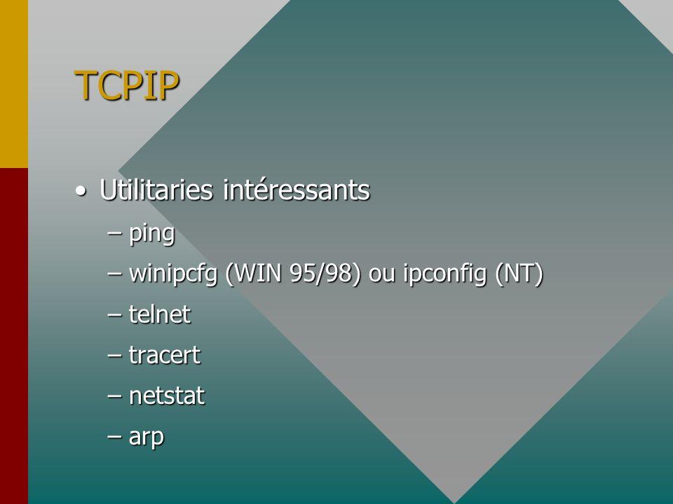 TCPIP Dans le panneau de configuration /réseauDans le panneau de configuration /réseau –Propriété de TCP-IP adresse de la machine 192.168.117.xadresse