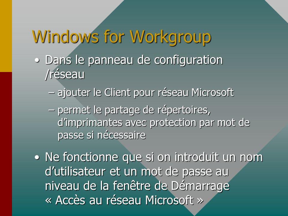 Configuration WINDOWS 95 Panneau de configuration / RéseauPanneau de configuration / Réseau –ajouter carte (si pas Plug and Play) –Propriété (pour con