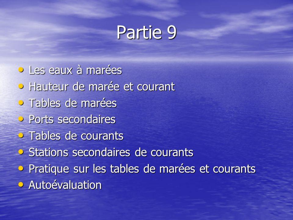 Partie 9 Les eaux à marées Les eaux à marées Hauteur de marée et courant Hauteur de marée et courant Tables de marées Tables de marées Ports secondair