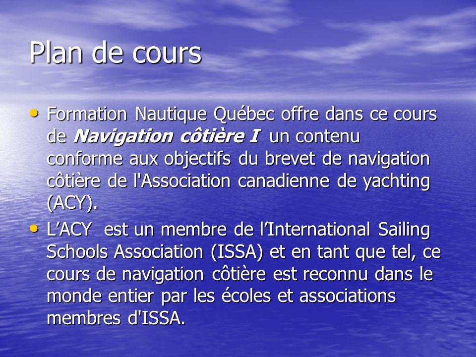 Plan de cours Formation Nautique Québec offre dans ce cours de Navigation côtière I un contenu conforme aux objectifs du brevet de navigation côtière
