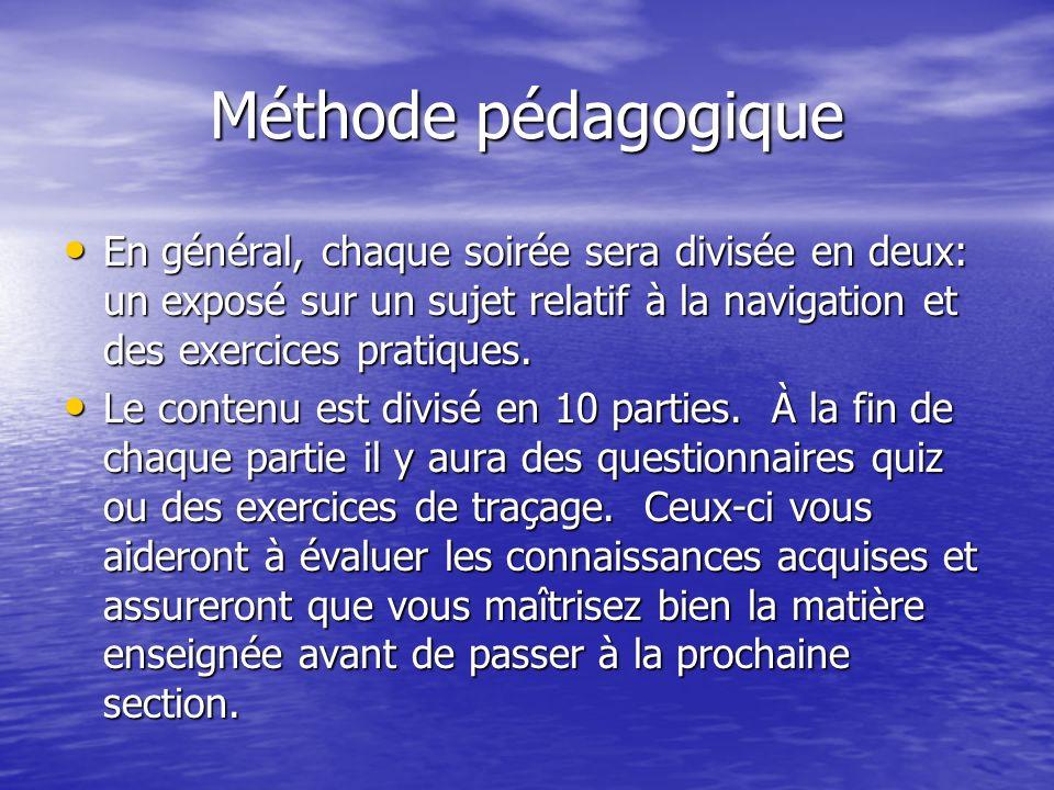 Méthode pédagogique En général, chaque soirée sera divisée en deux: un exposé sur un sujet relatif à la navigation et des exercices pratiques. En géné