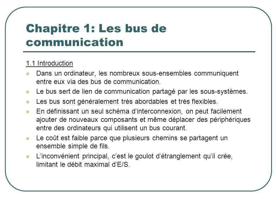 1.1 Introduction Dans un ordinateur, les nombreux sous-ensembles communiquent entre eux via des bus de communication. Le bus sert de lien de communica