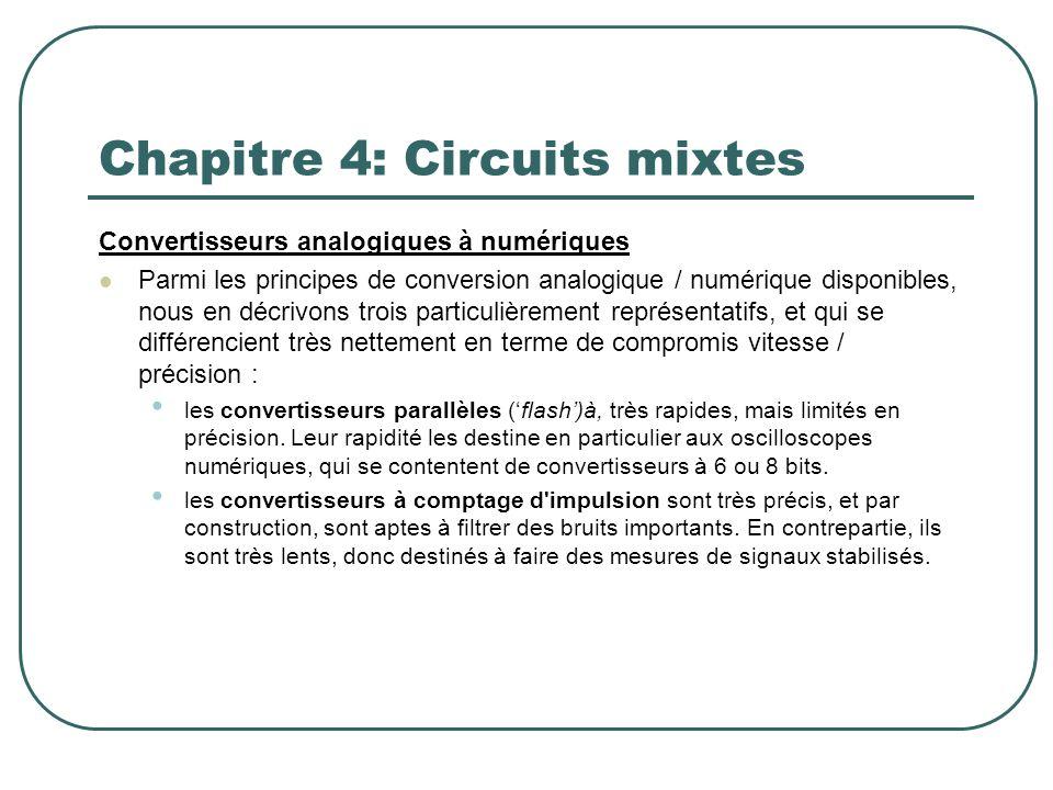 Chapitre 4: Circuits mixtes Convertisseurs analogiques à numériques Parmi les principes de conversion analogique / numérique disponibles, nous en décr