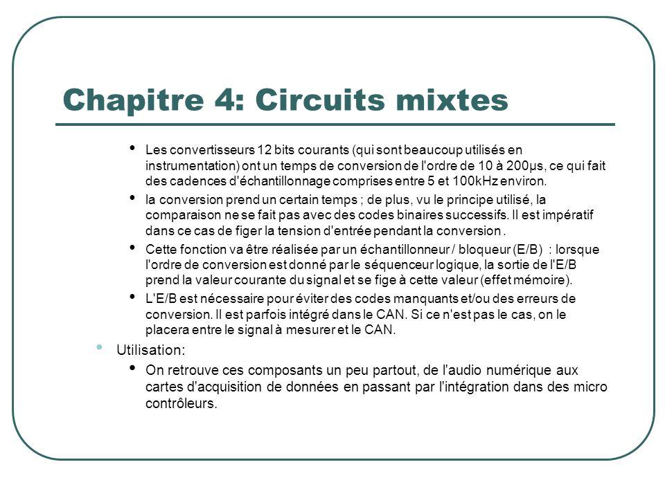 Chapitre 4: Circuits mixtes Les convertisseurs 12 bits courants (qui sont beaucoup utilisés en instrumentation) ont un temps de conversion de l'ordre