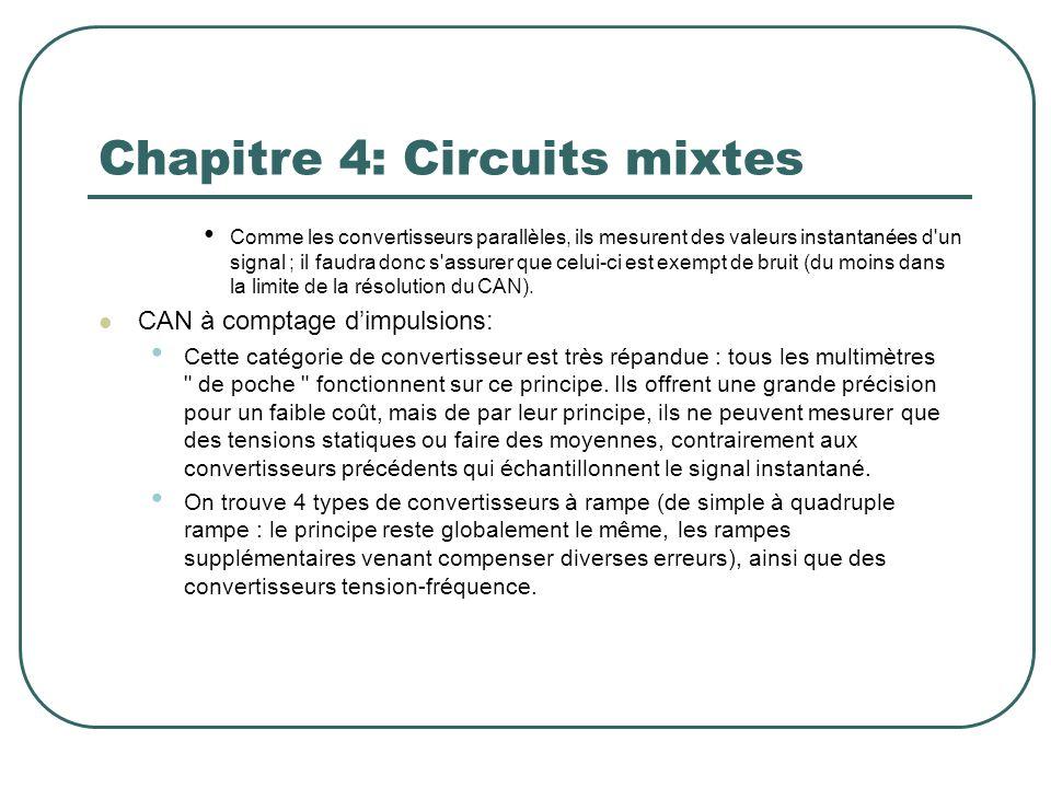 Chapitre 4: Circuits mixtes Comme les convertisseurs parallèles, ils mesurent des valeurs instantanées d'un signal ; il faudra donc s'assurer que celu