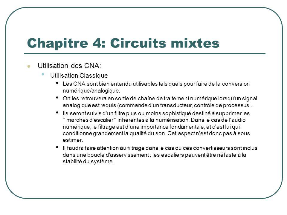 Chapitre 4: Circuits mixtes Utilisation des CNA: Utilisation Classique Les CNA sont bien entendu utilisables tels quels pour faire de la conversion nu