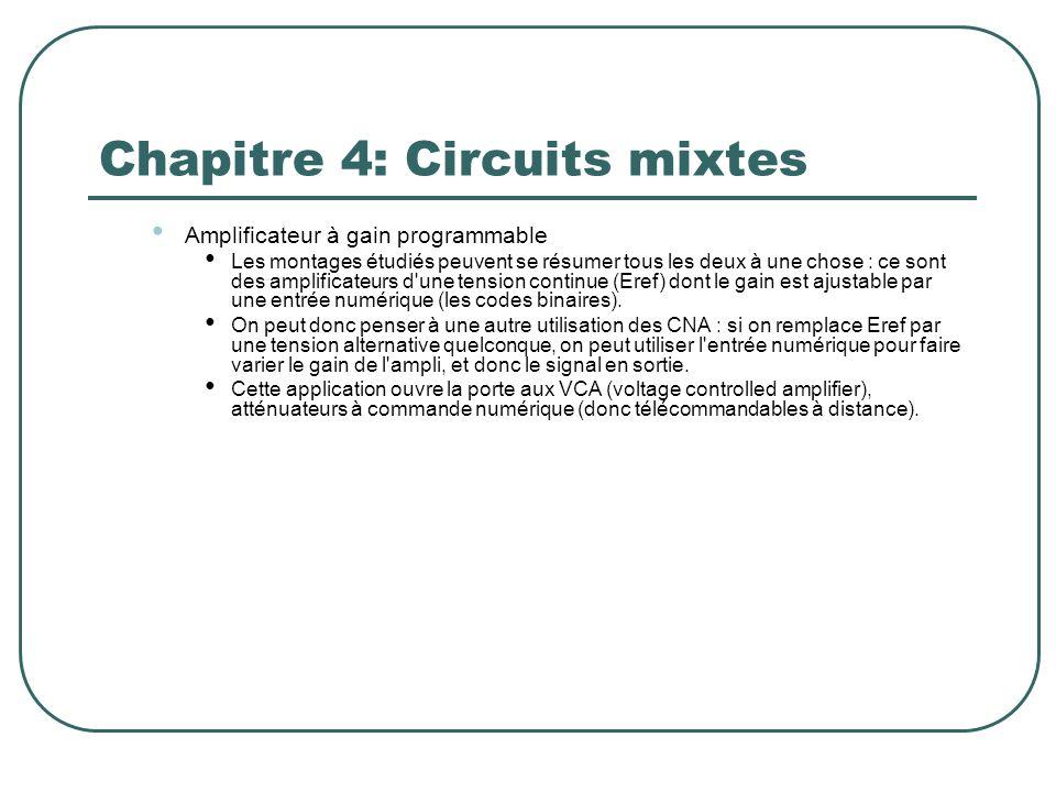 Chapitre 4: Circuits mixtes Amplificateur à gain programmable Les montages étudiés peuvent se résumer tous les deux à une chose : ce sont des amplific