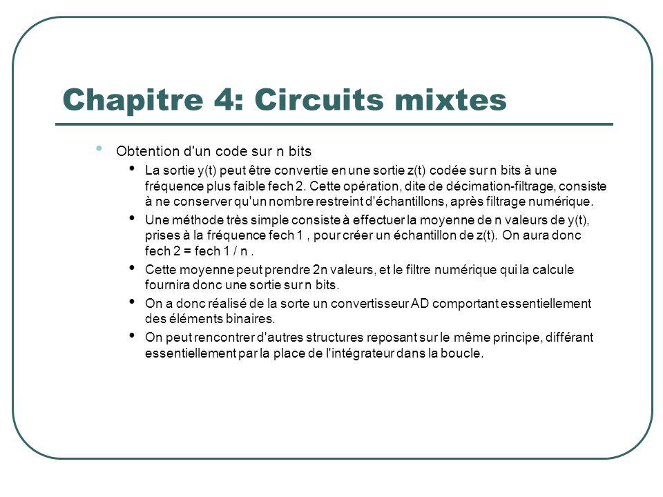 Chapitre 4: Circuits mixtes Obtention d'un code sur n bits La sortie y(t) peut être convertie en une sortie z(t) codée sur n bits à une fréquence plus